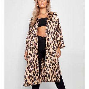 Satin Leopard Kimono